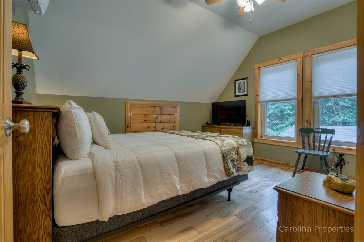 Additional view of upper level bedroom with queen size bed