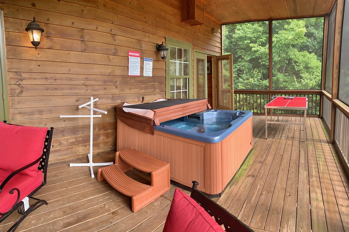 Hot Tub on Terrace Level Deck with Screened Porch