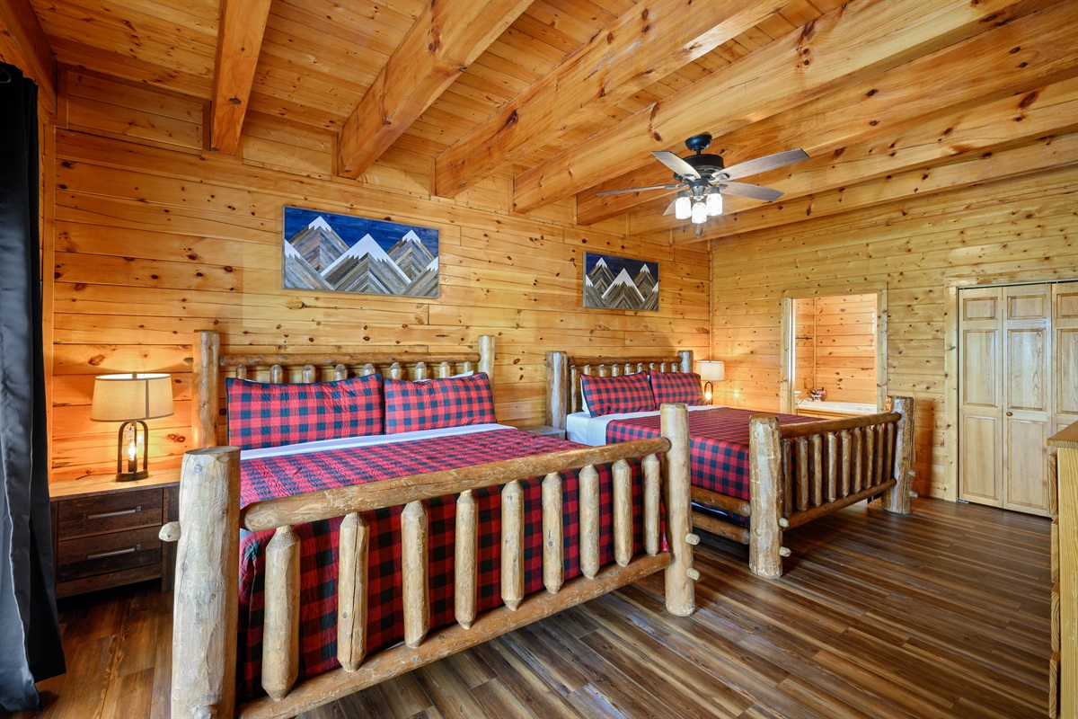 Main Floor Bedroom #2 with 2 King Beds, 50 inch Smart TV, On-Suite Full Bathroom with Large Soaking Jetted Tub and detached Shower.