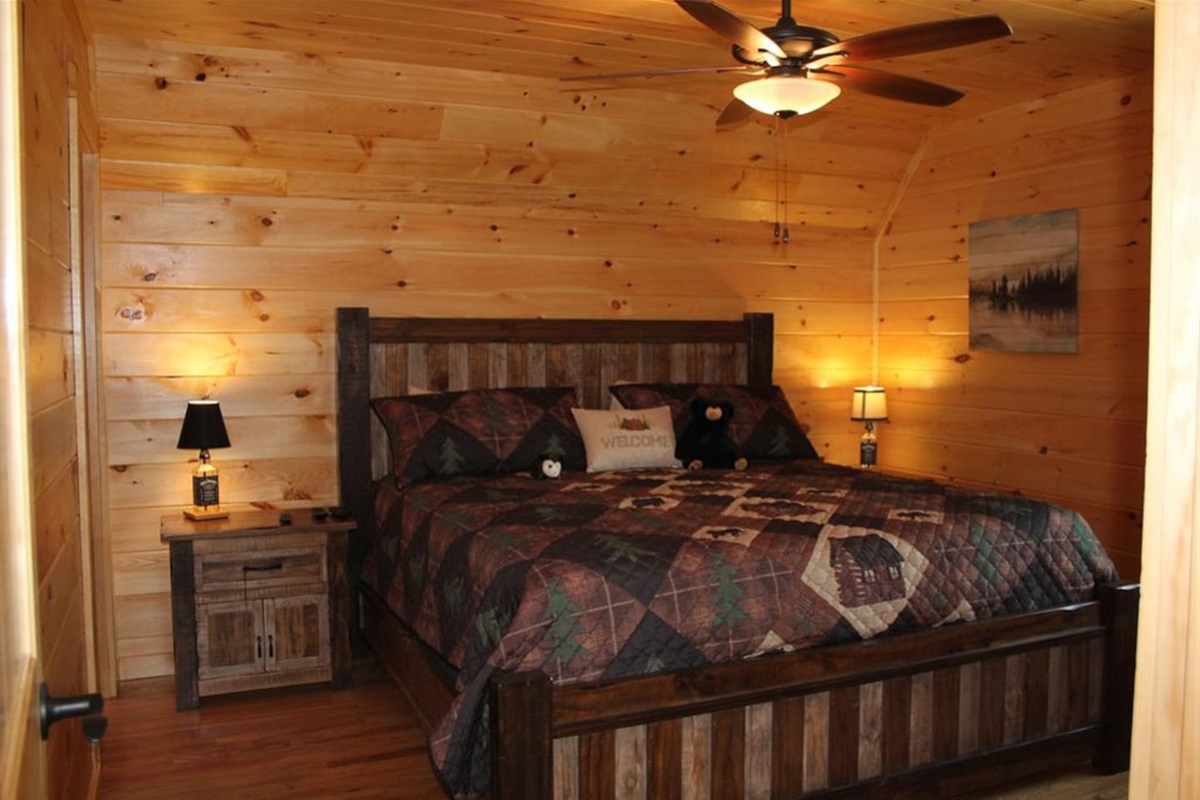 Bottom level king master suite with shower only bathroom