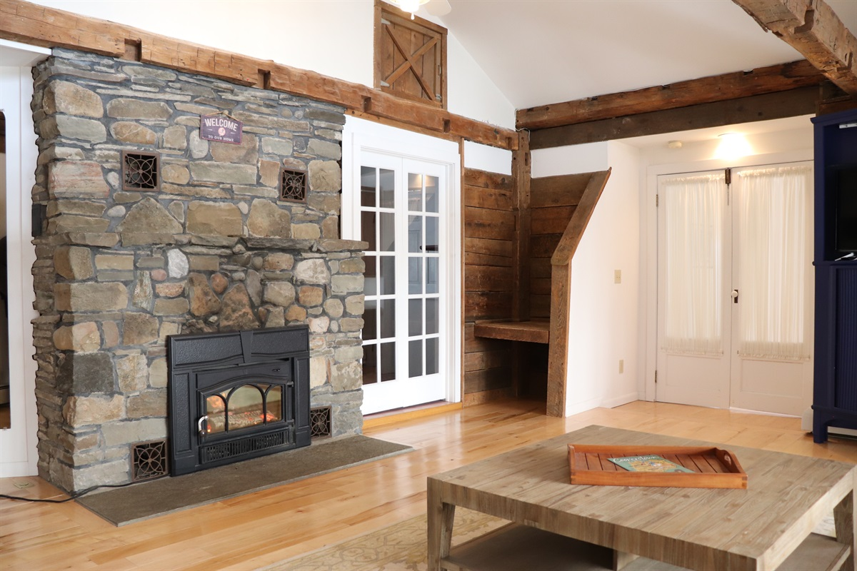 Main living room, beautiful stone and wood work.