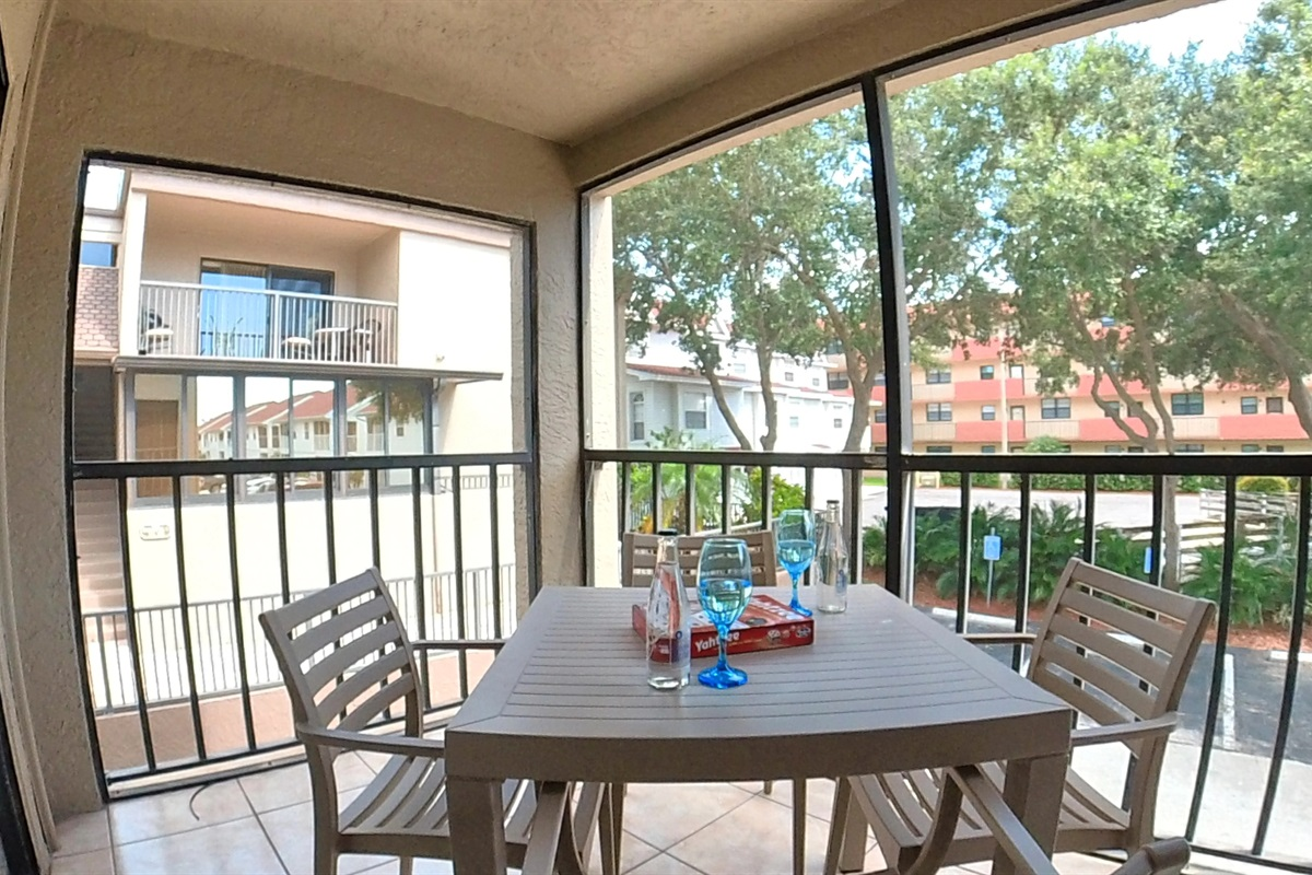 Screened Patio with Garden View