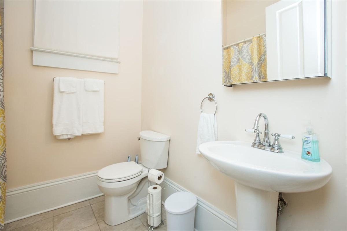Bathroom.  Tub/shower, towels, hair dryer.