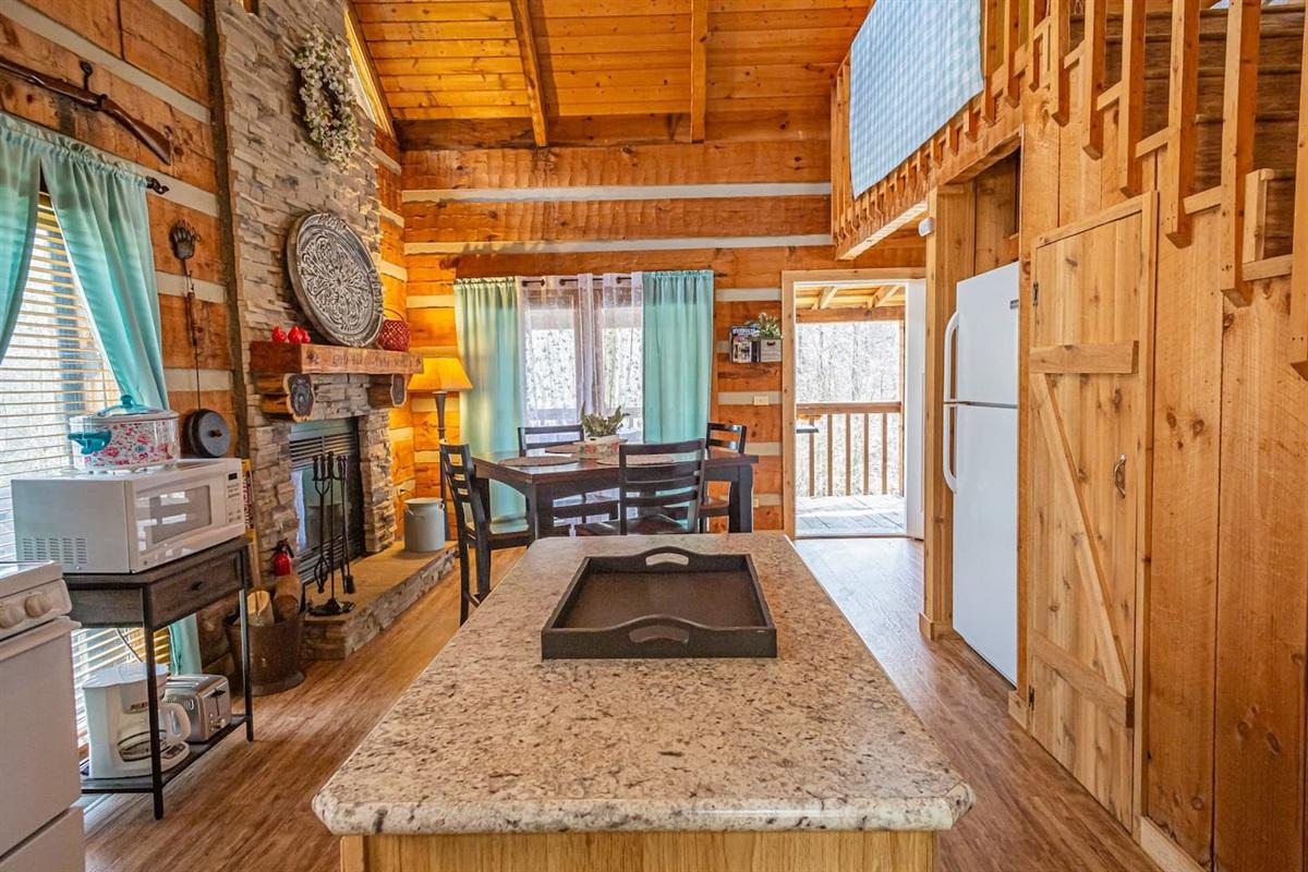 Across the cabin