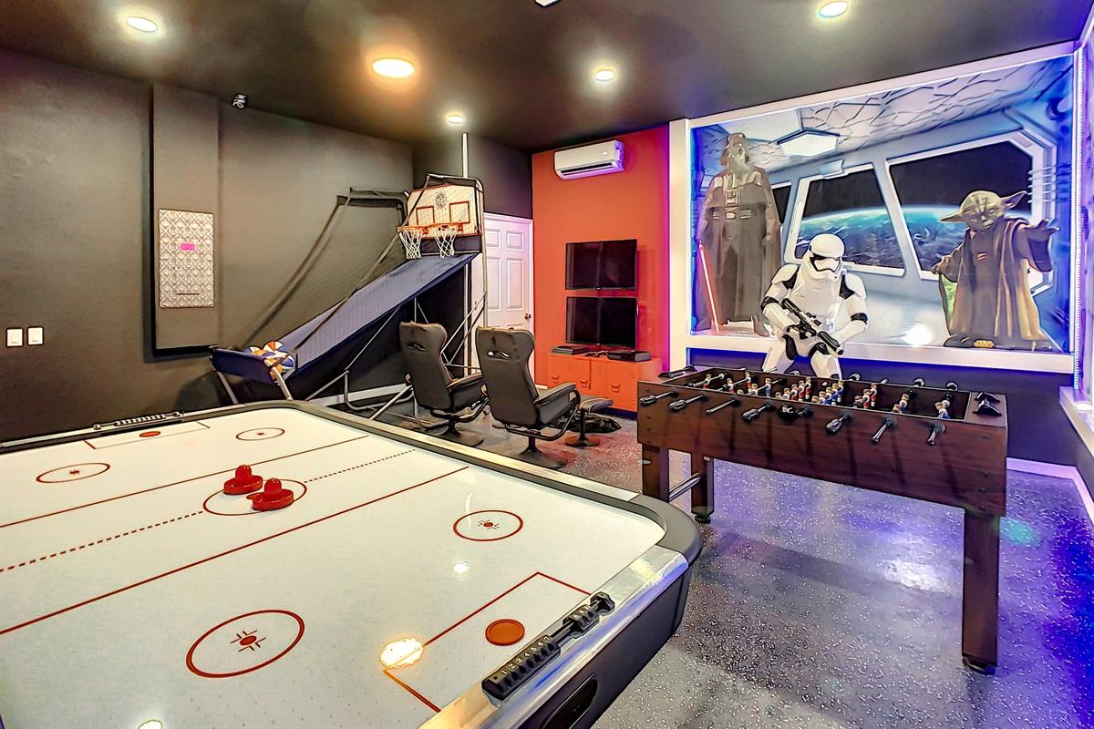 Play Air Hockey, Foosball, and Basketball