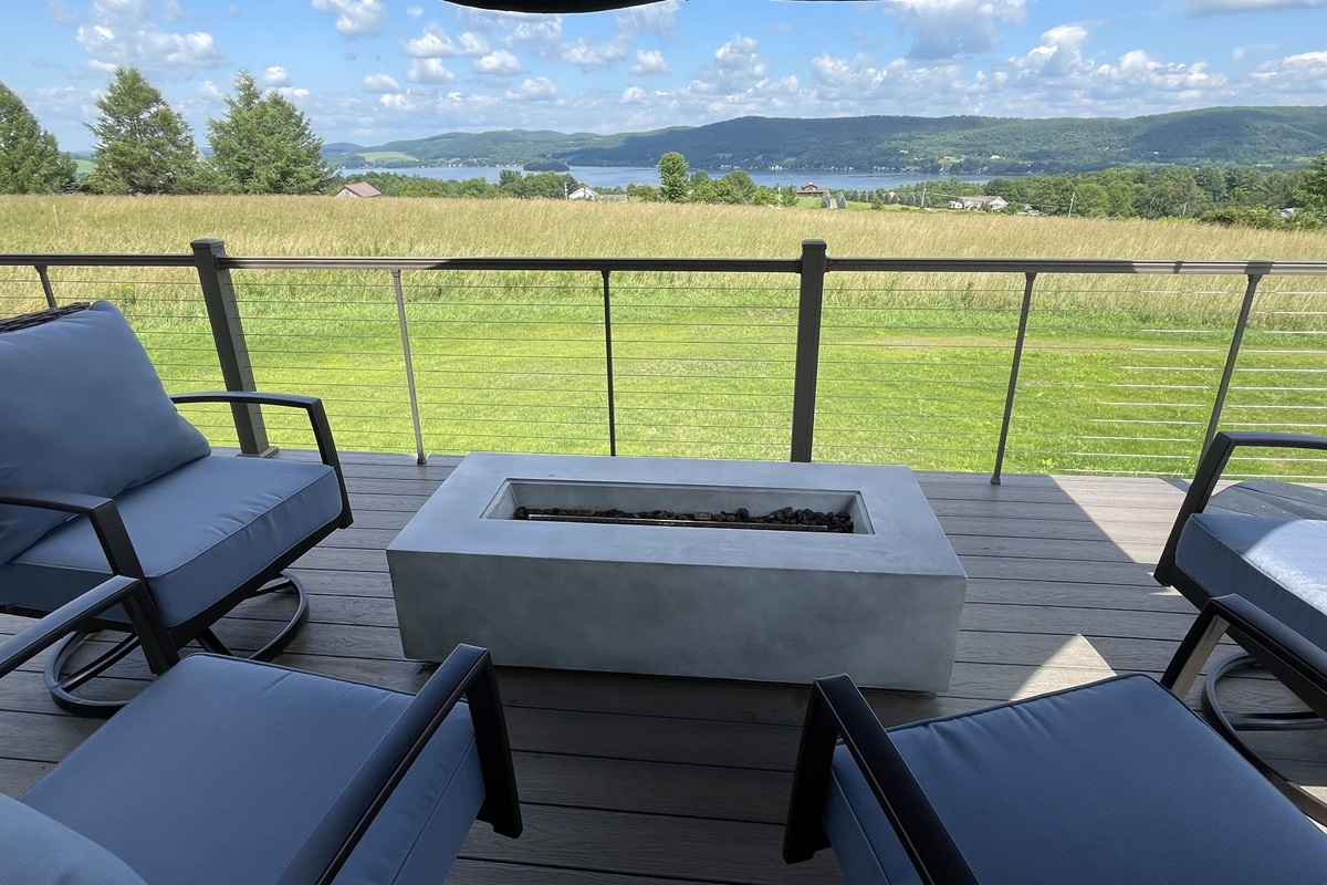 Gas firepit overlooking Canadarago Lake