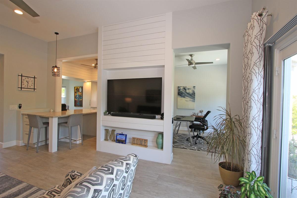 living room TV and Work desk