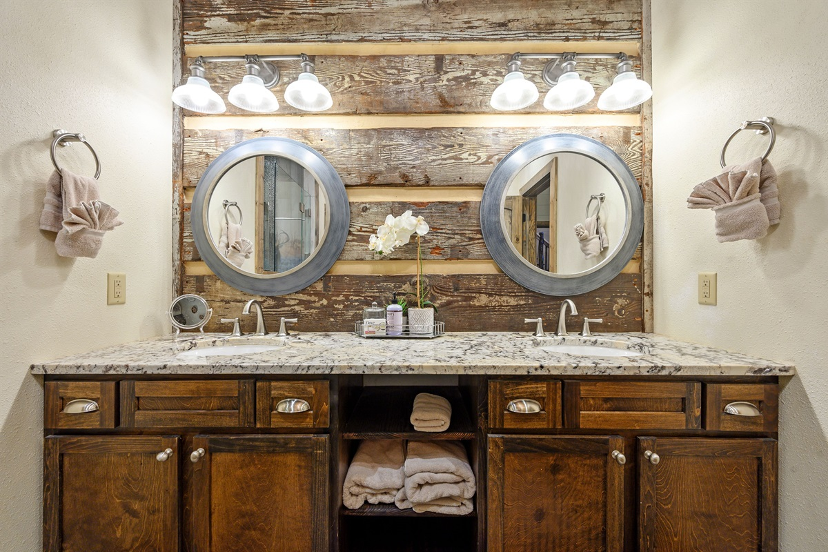 View of the double vanity.  Also incorporates the century old barn wood throughout
