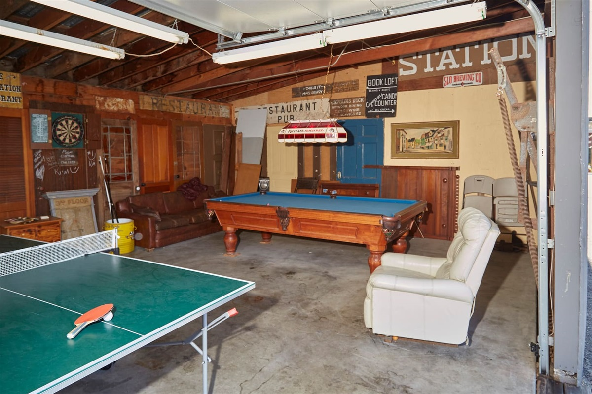 game room includes ping pong, pool, and darts.