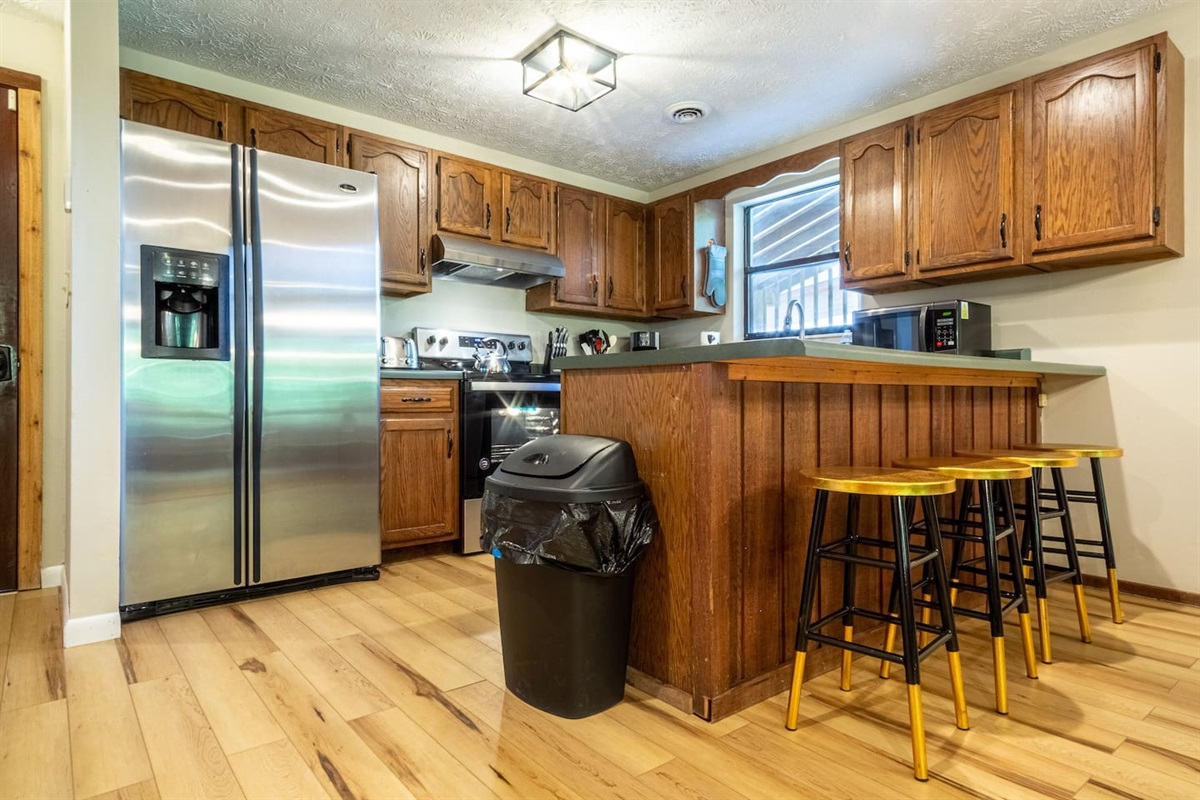 Open kitchen next to the living area