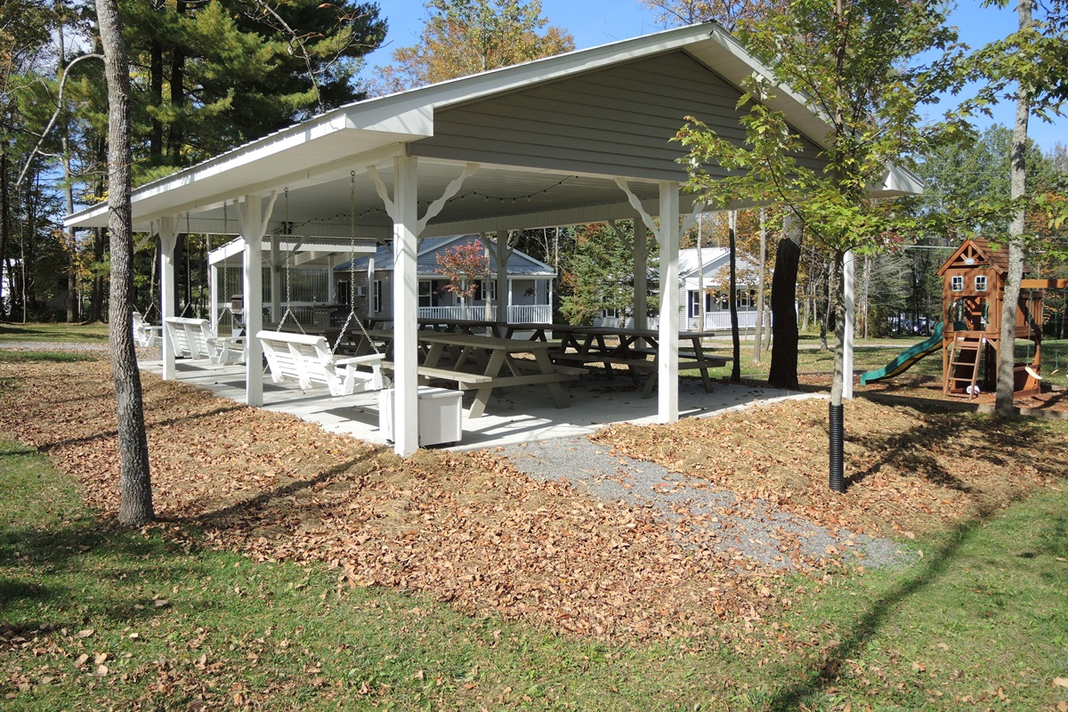 20x36 Pavilion w/ tables and grills