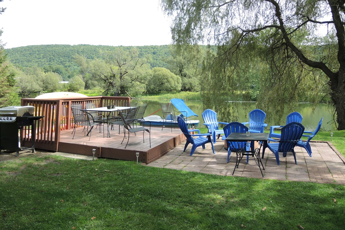 Patio and BBQ area overlooking water