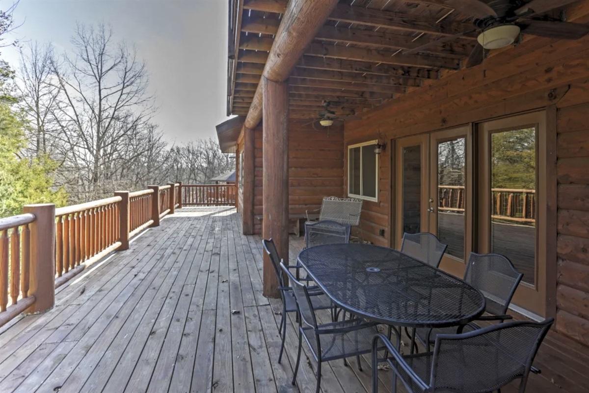 Huge decks around cabin