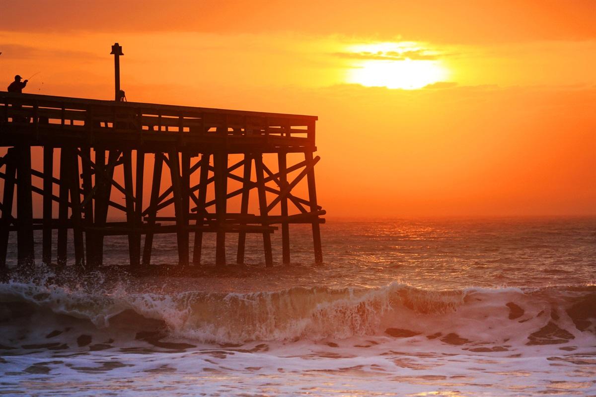 Sunrise from Pier on Beach
