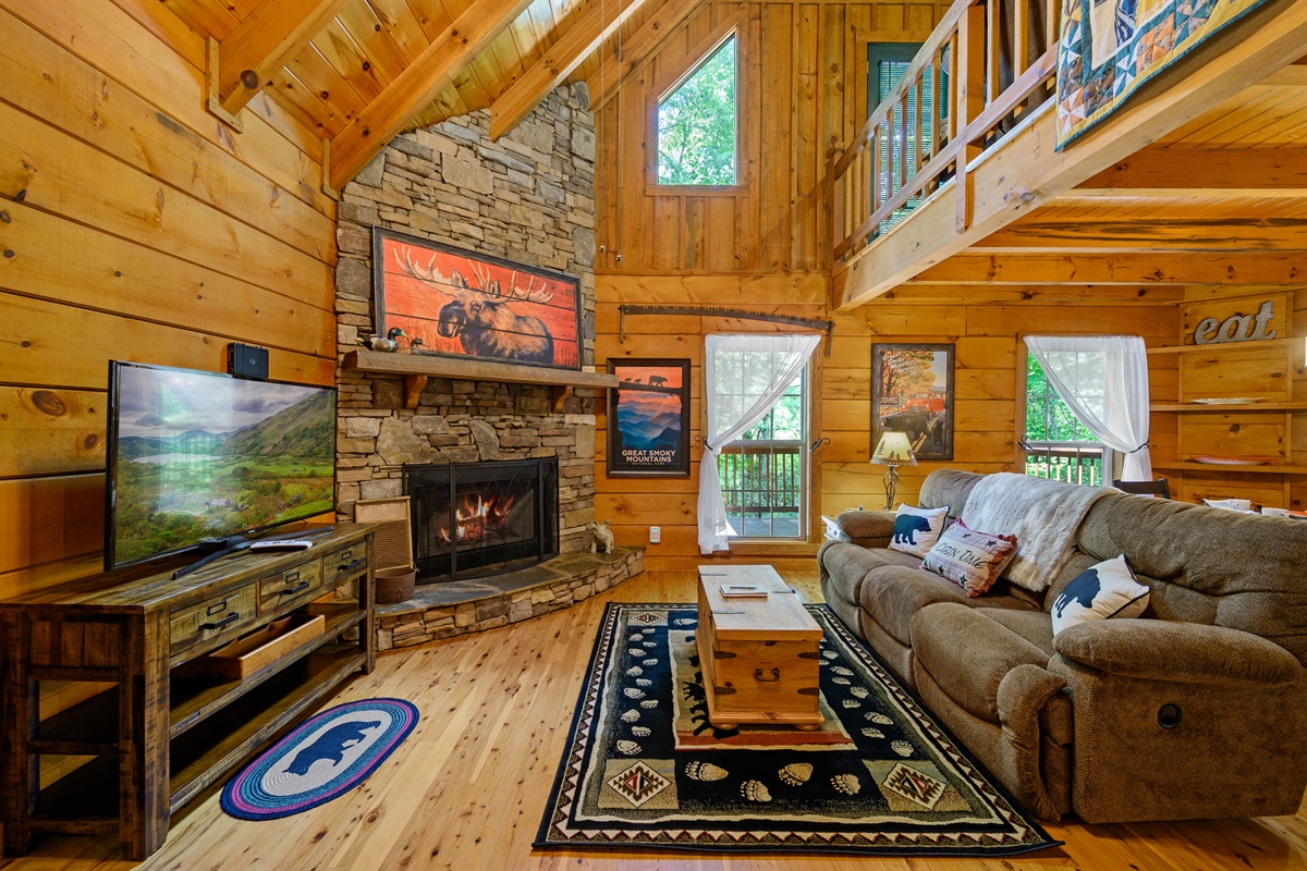 Living Area With Reclining Sofa, DirecTV, Fireplace