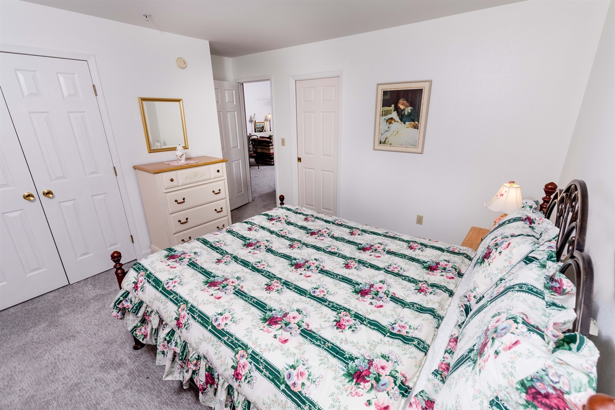 Cozy up in the comfortable queen bed in the guest bedroom