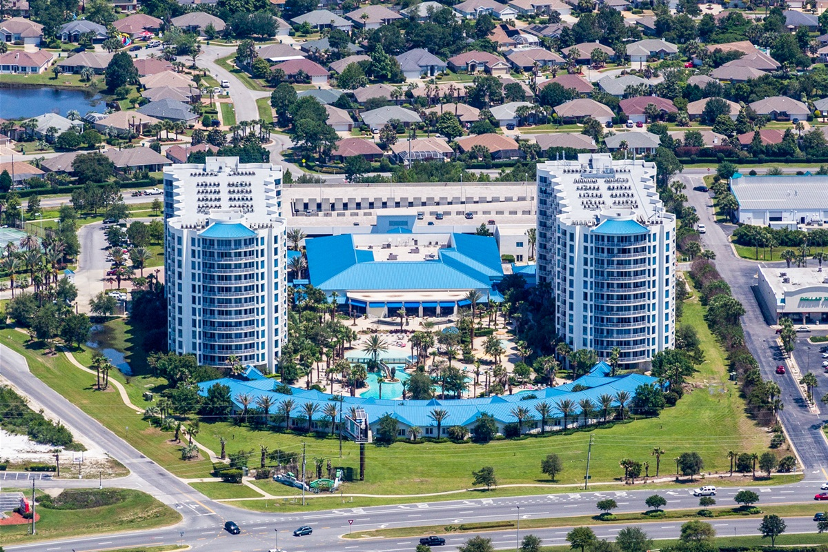 Aerial view of The Palms of Destin Resort