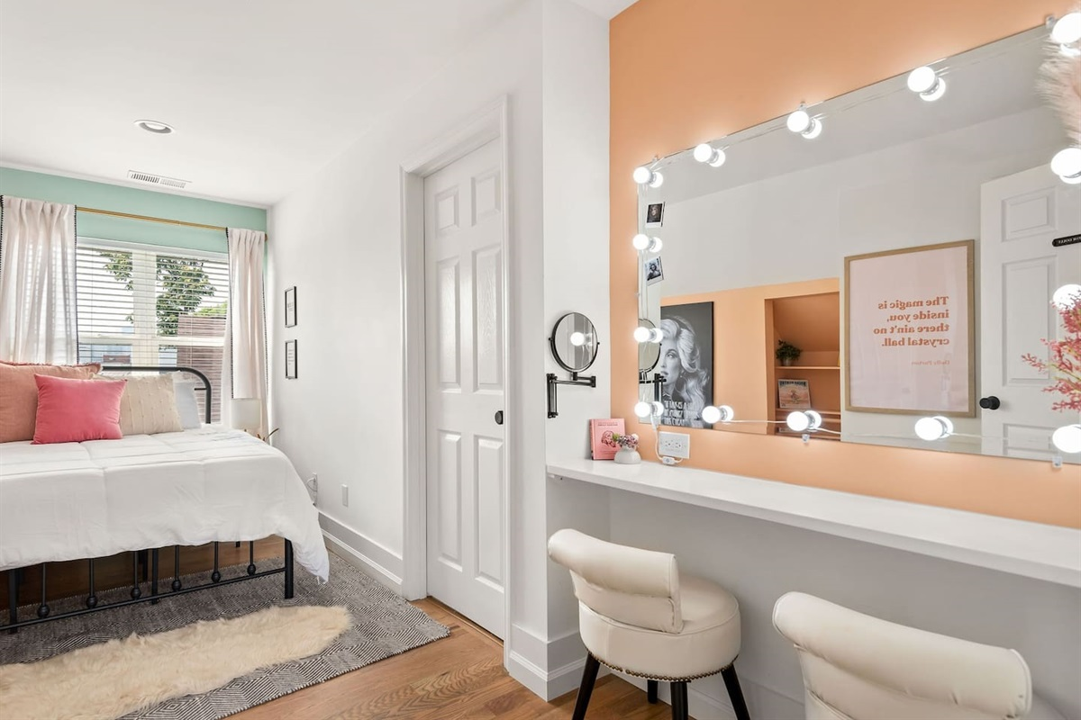 This Dolly dressing room inspired makeup vanity is the perfect spot to get ready for a night on the town!