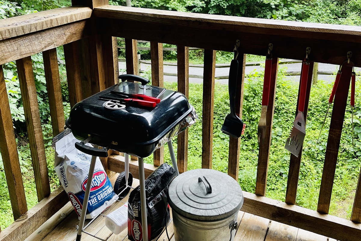 Charcoal grill on the back deck (bring a bag or two)