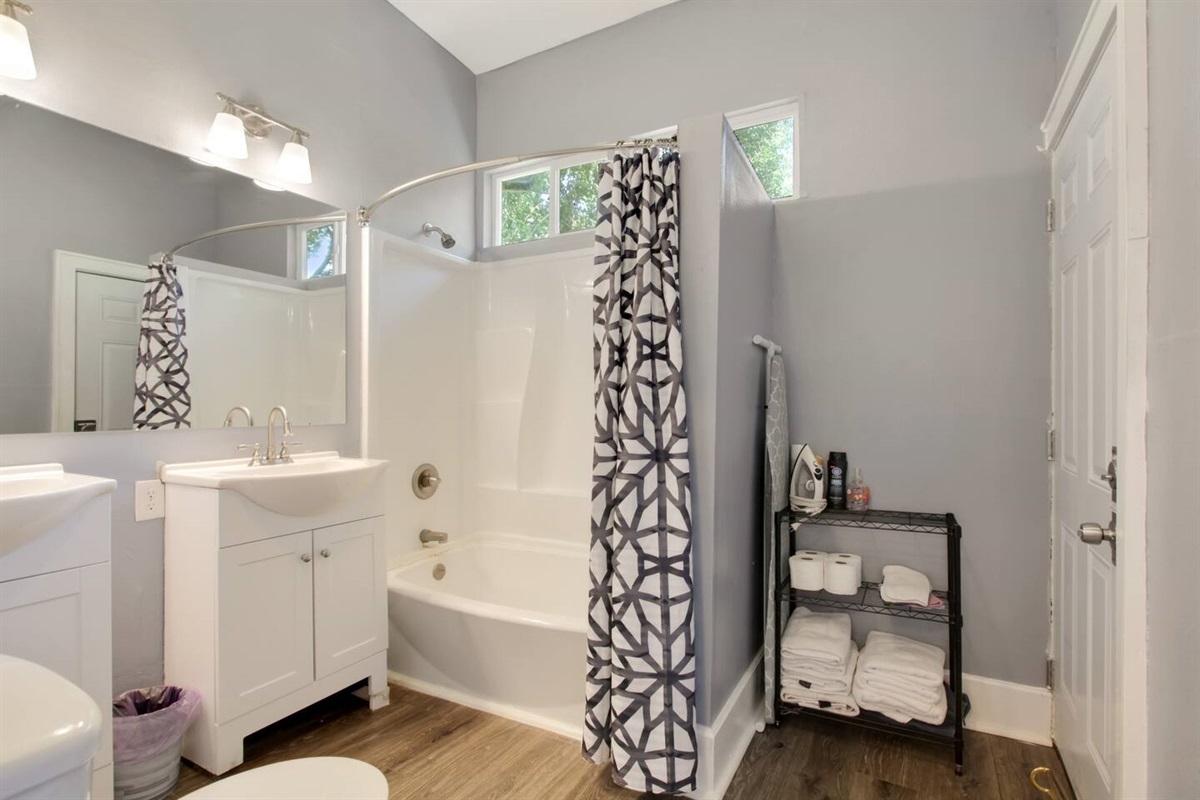 Upstairs full bathroom with dual vanities
