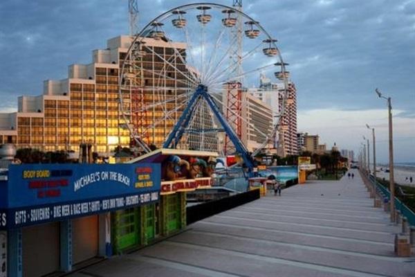 Daytona Beach Boardwalk-rides, arcades, shops, restaurants & outdoor concerts.