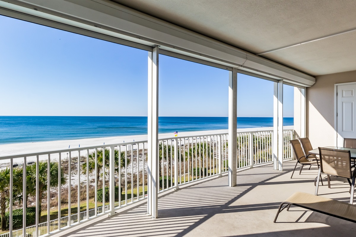 Private balcony with beach view