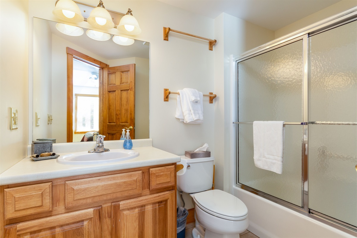 Master bathroom.  Vanity supplies provided at start of stay.