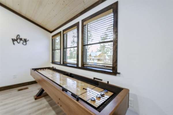 Game room - shuffle board and table bowling
