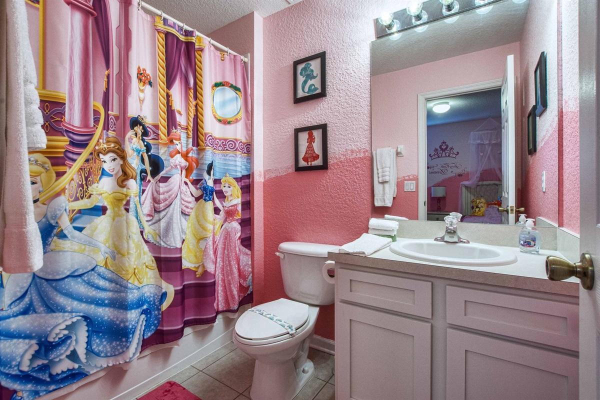 Princess bathroom attached to Princess bedroom.