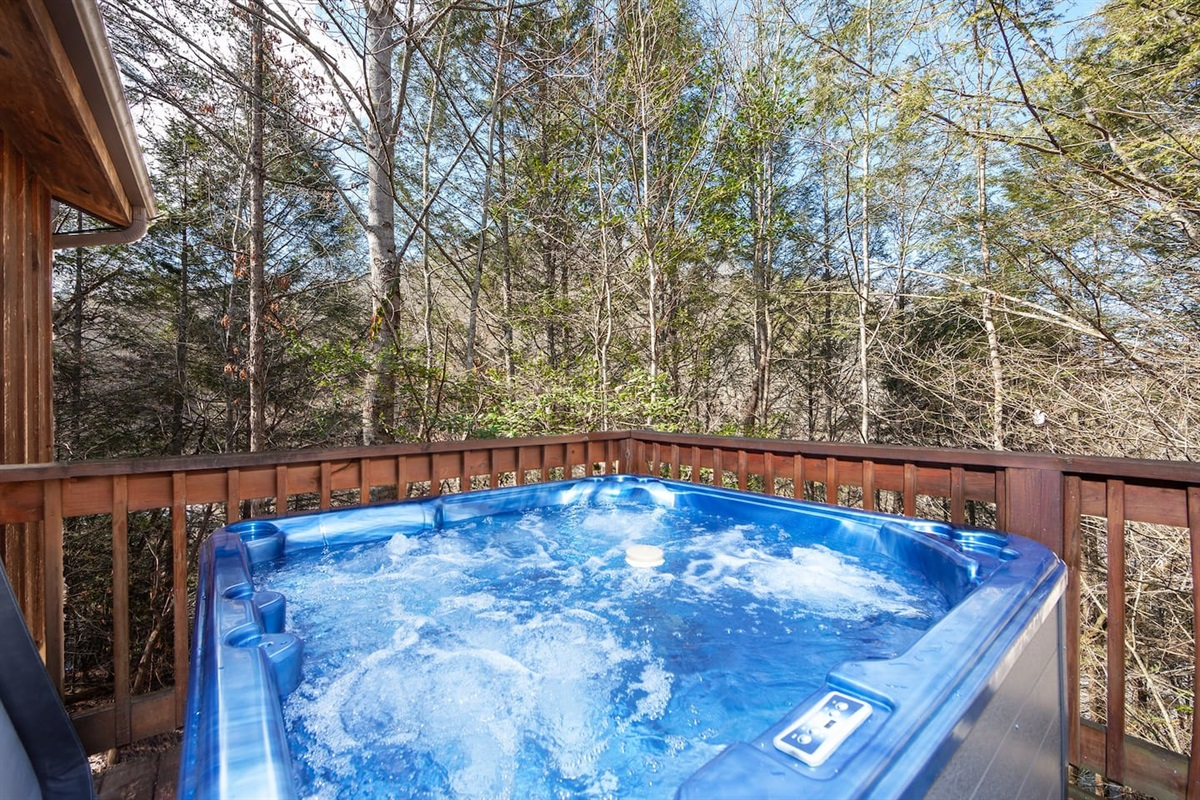 Soak in the jetted hot tub on the back deck.