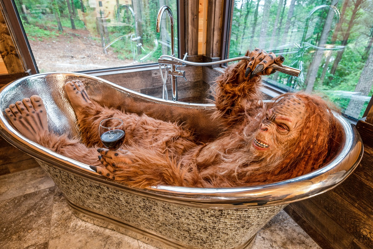 Enjoying a tranquil soak.