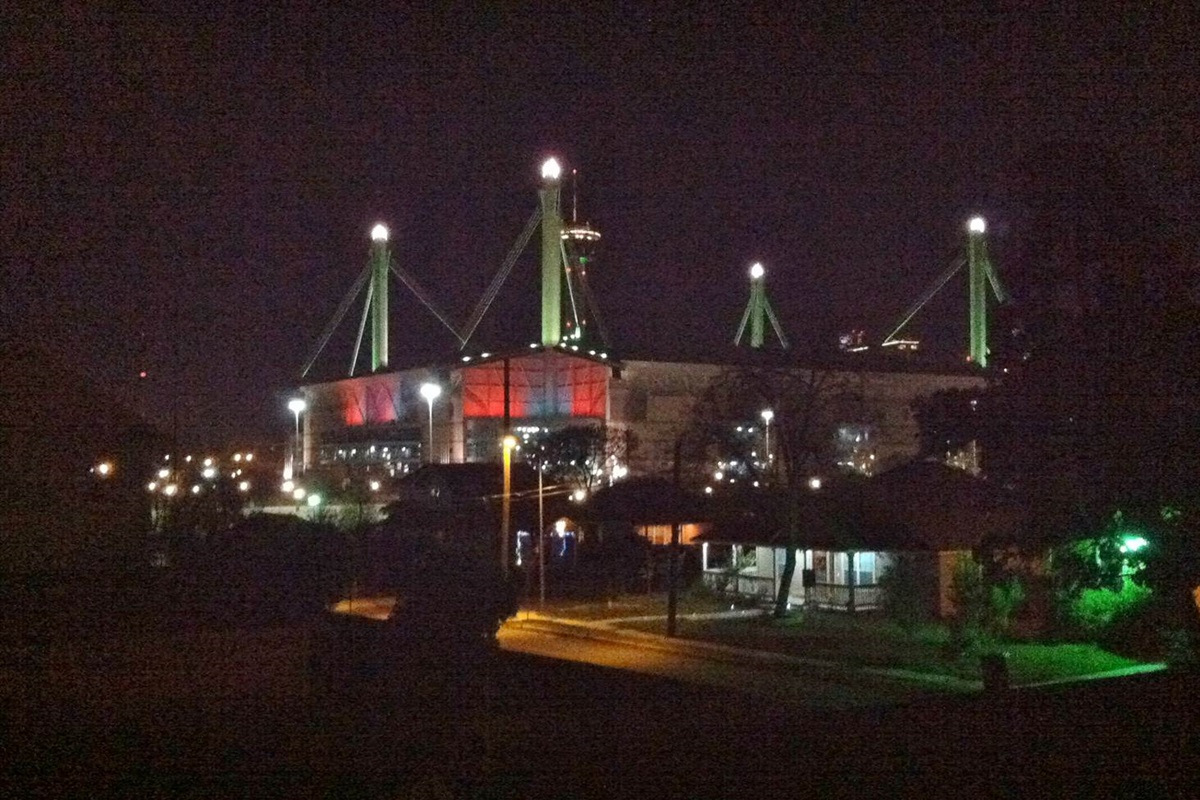 View of the Alamodome and downtown skyline.