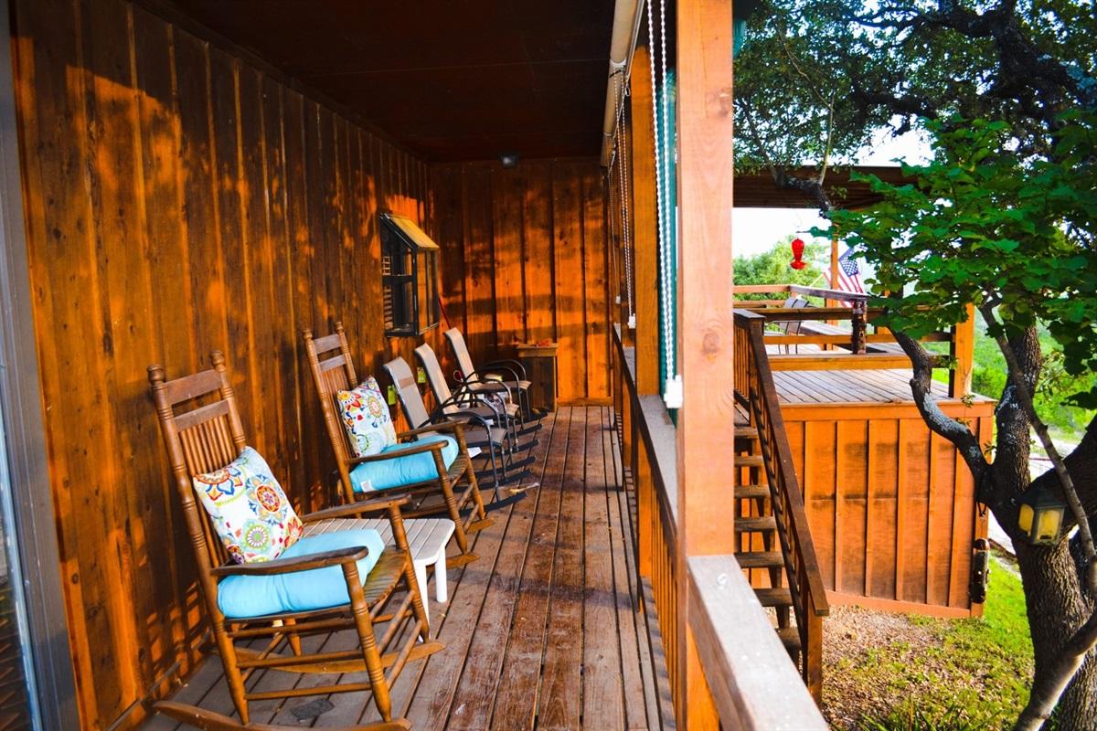 Lower cabin wrap-around deck.
