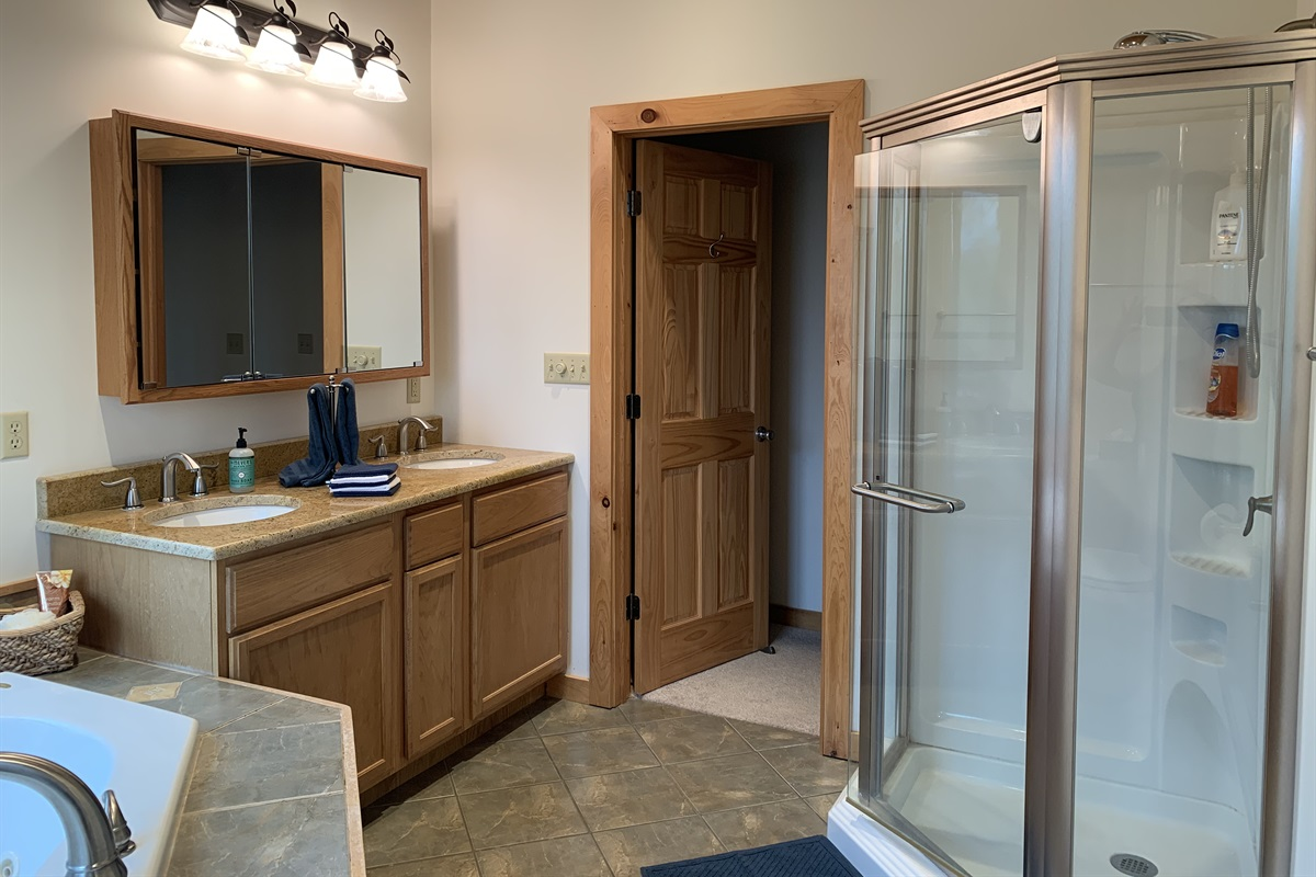 Master Bath Shower and Double Sink