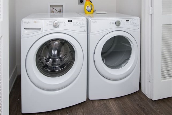 New washer & dryer available for you to use!