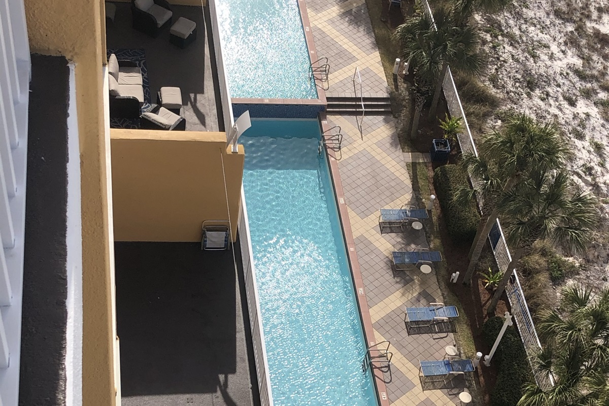 Pool deck overlooks the beach
