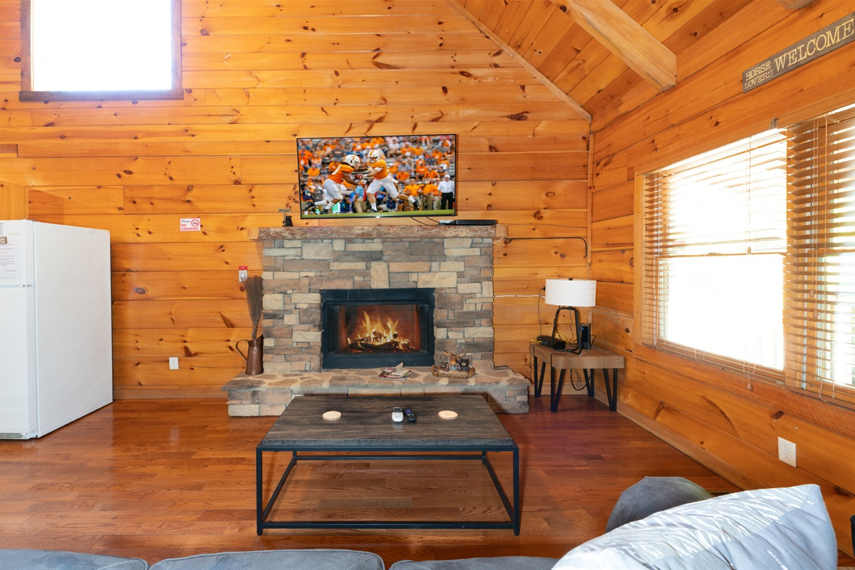 Living room with fire place and smart TV