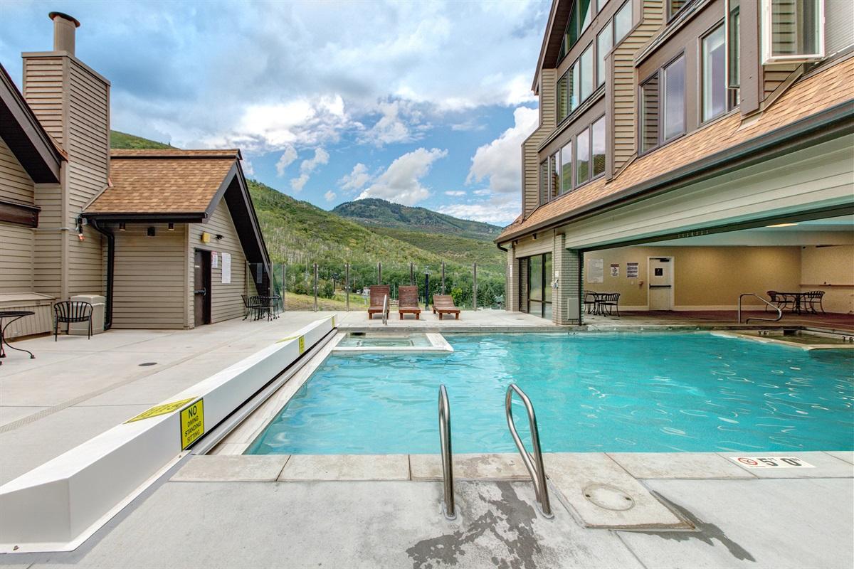 Indoor-outdoor heated swimming pool