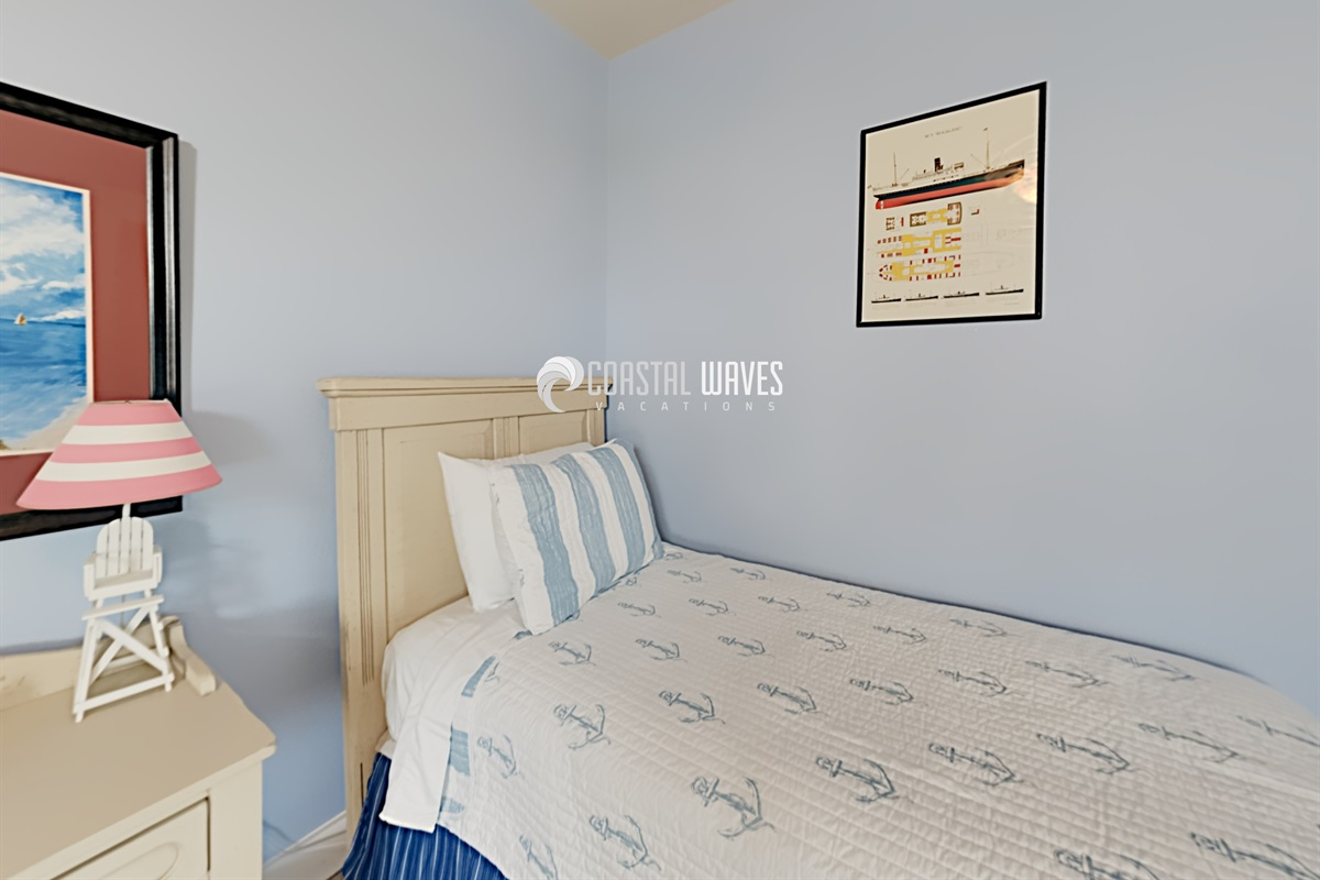 Additional twin bed in bunk room