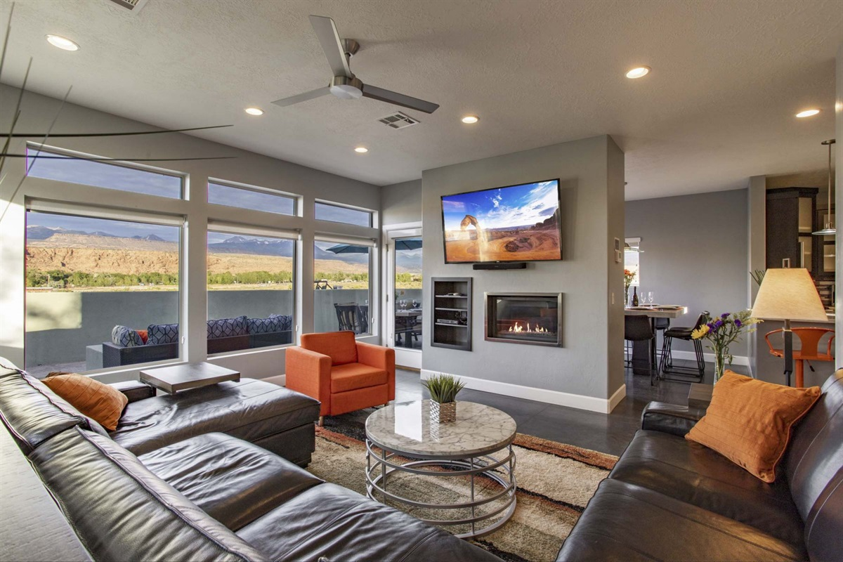 """Great Room with Fire Place 65"""" Smart TV"""