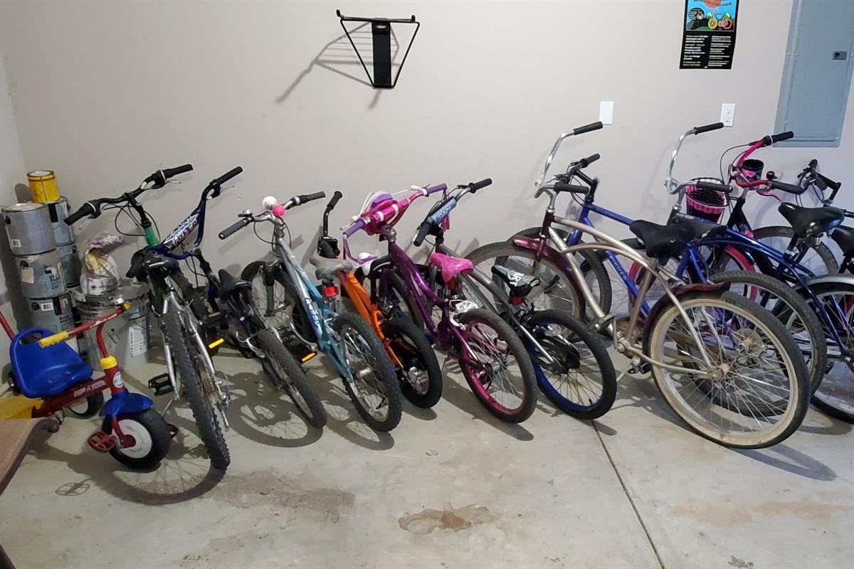 6 kids bikes, 1 trike, 5 adult bikes!