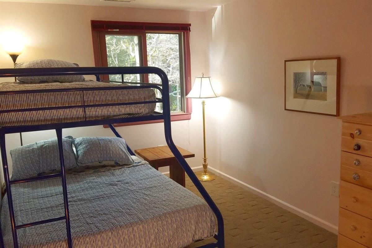 Bunkroom #2 Upstairs.  Twin mattress on top, Double on bottom.