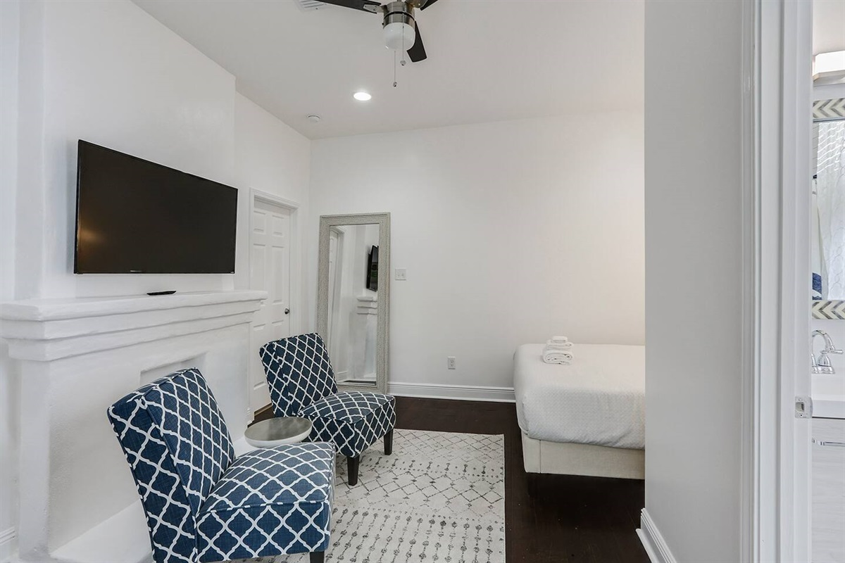 Bedroom/living area. HDTV. Double locking middle door to main house for guests that rent both units.
