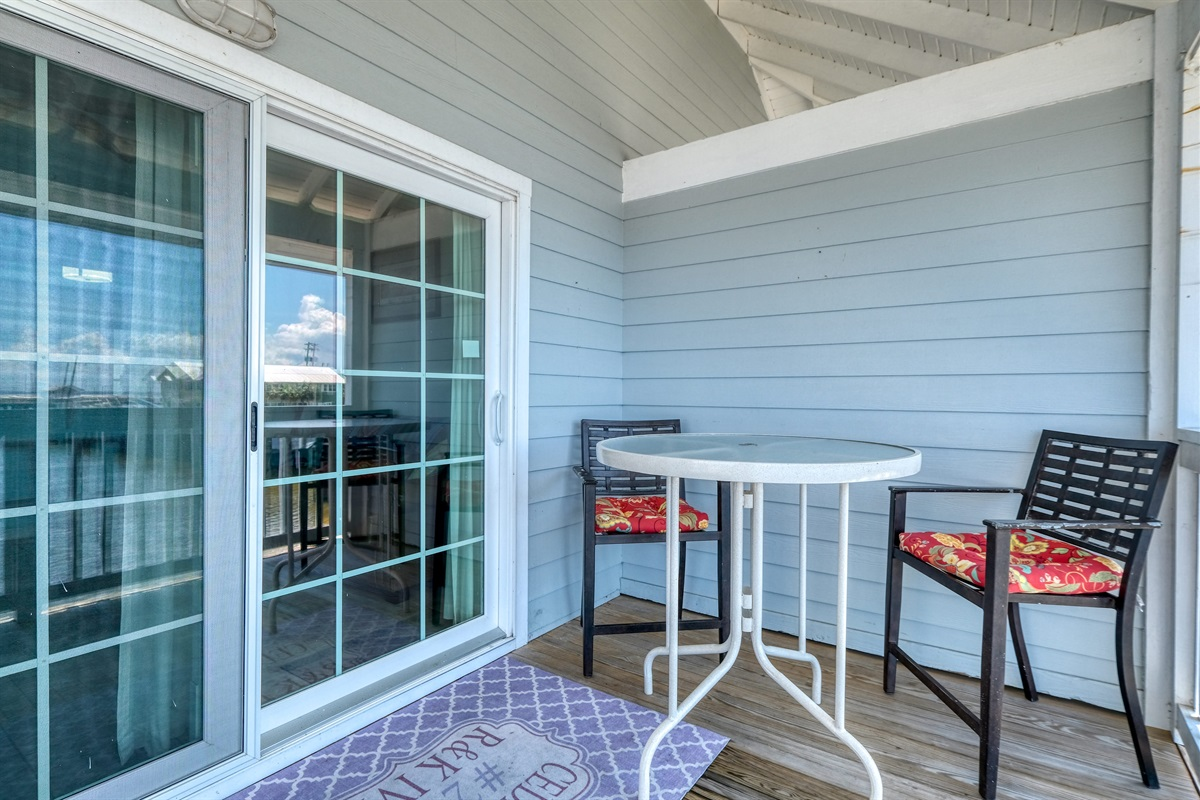 Dining seating available on the porch