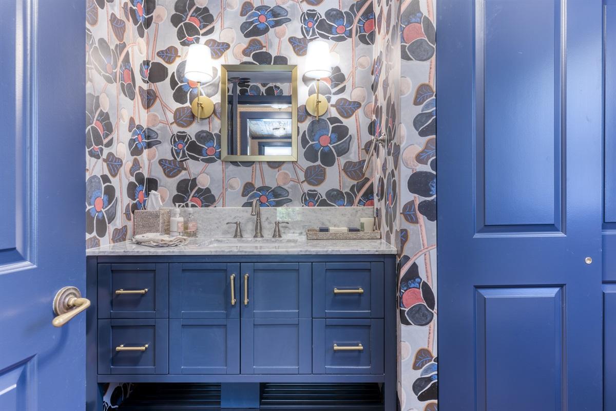 Stylish and fun half bathroom