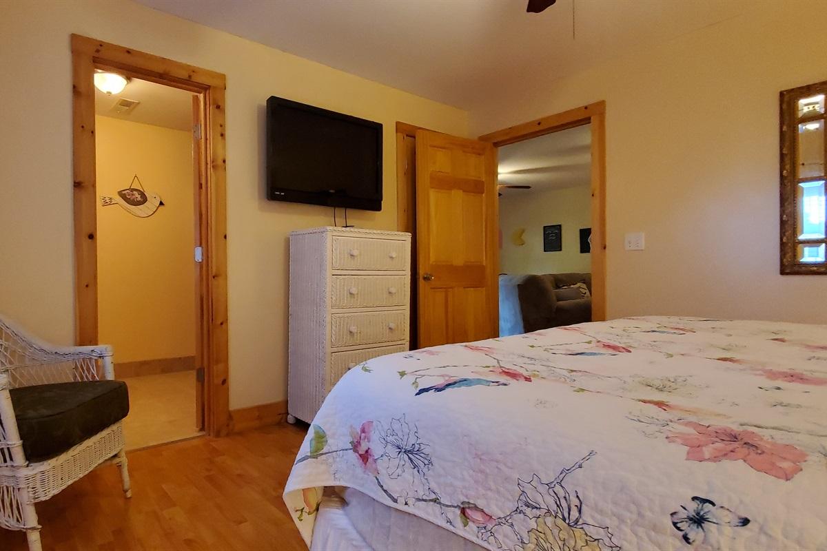 King bedroom located off gameroom