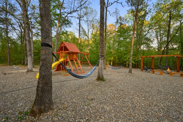 Play set, hammocks, and fire pit