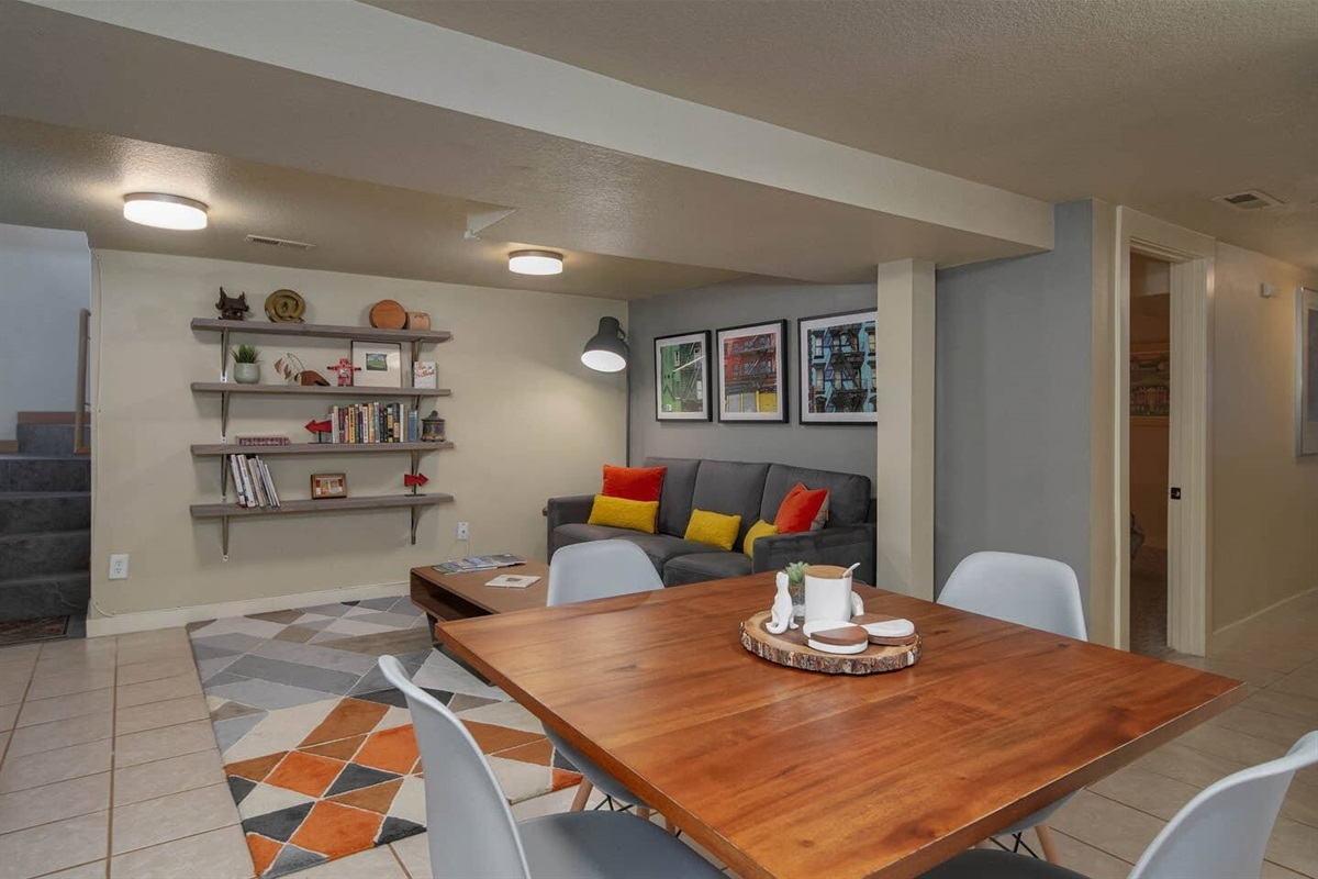 Hanging out feels easy, as the living room flows into the kitchen and dining space.