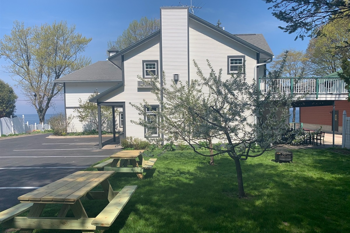 Great backyard for relaxing and firepits, brand new asphalt parking lot with plenty of parking.