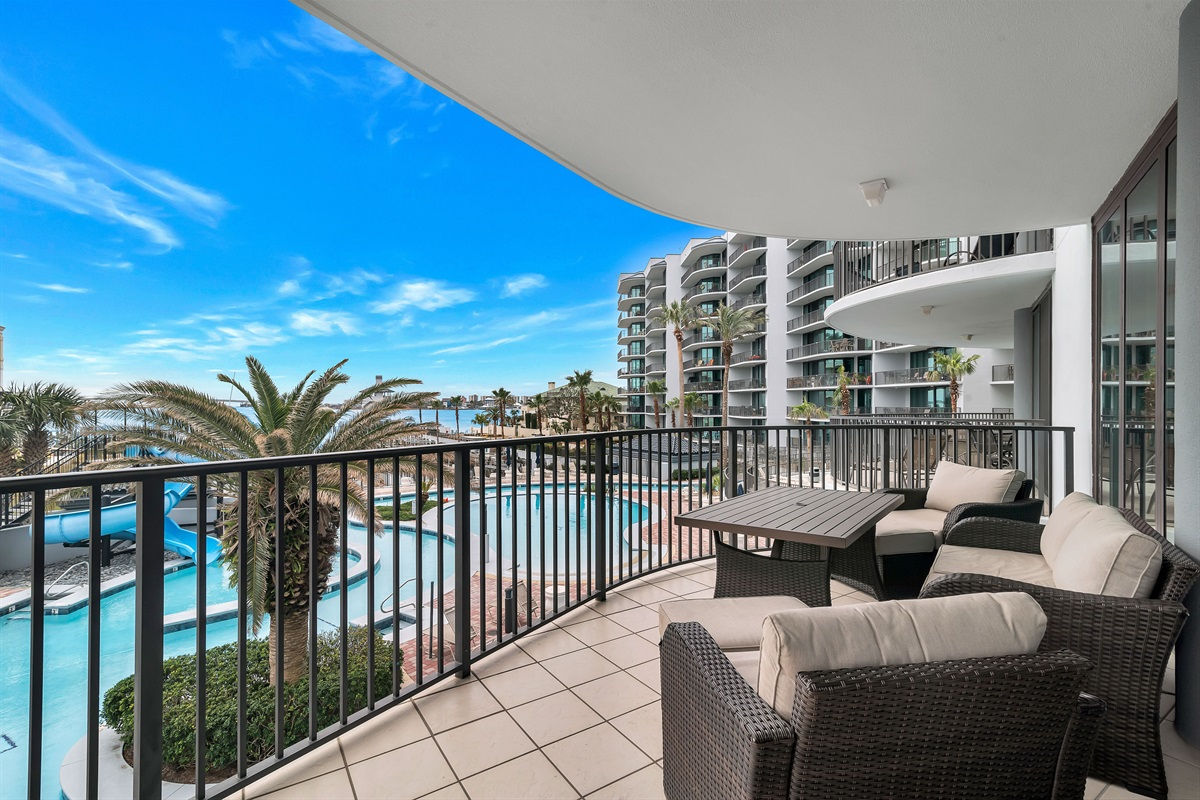 Balcony with Views of the Lazy River & Bay